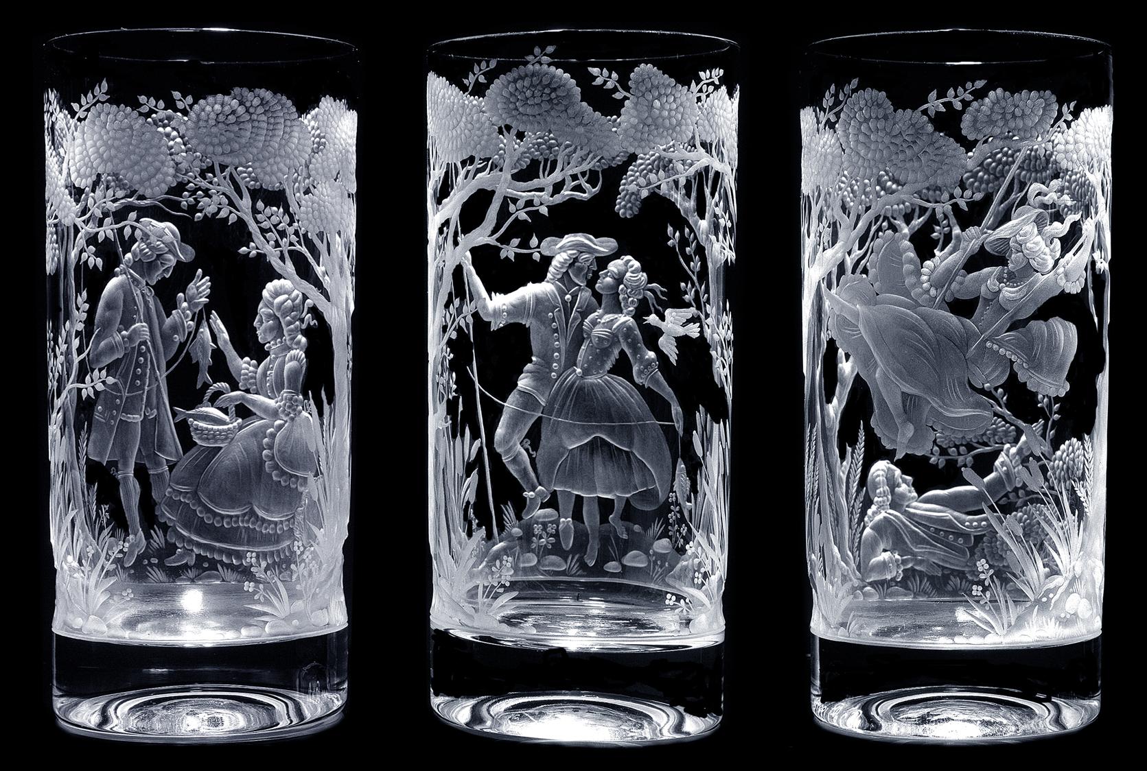 Гравированное стекло - стаканы из серии Галантные сцены