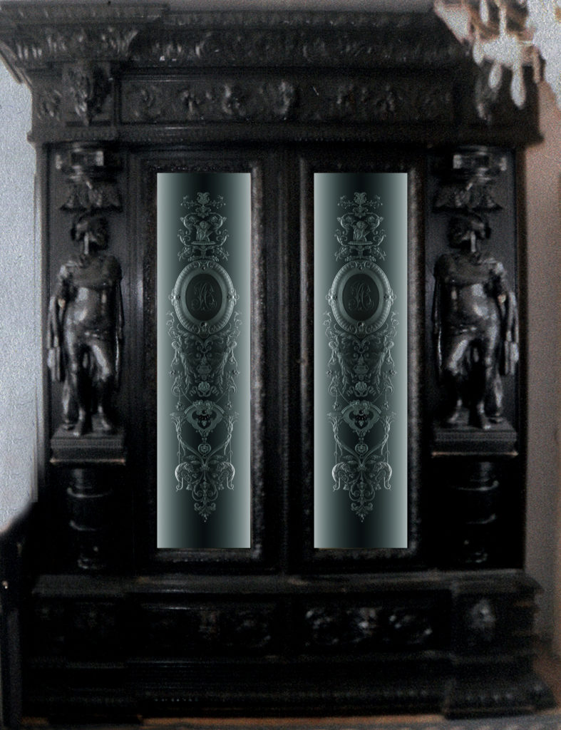 Гравированный витраж в рыцарский шкаф