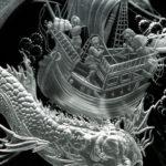 Балена - арт-объект, гравированное стекло