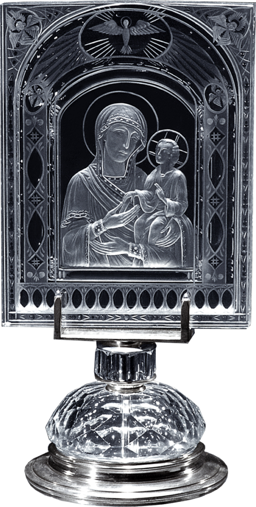 Троеручица икона на оптическом стекле