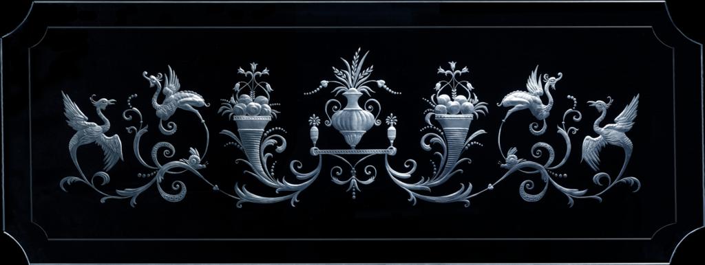 Гравированное стекло - верхний фрагмент витража