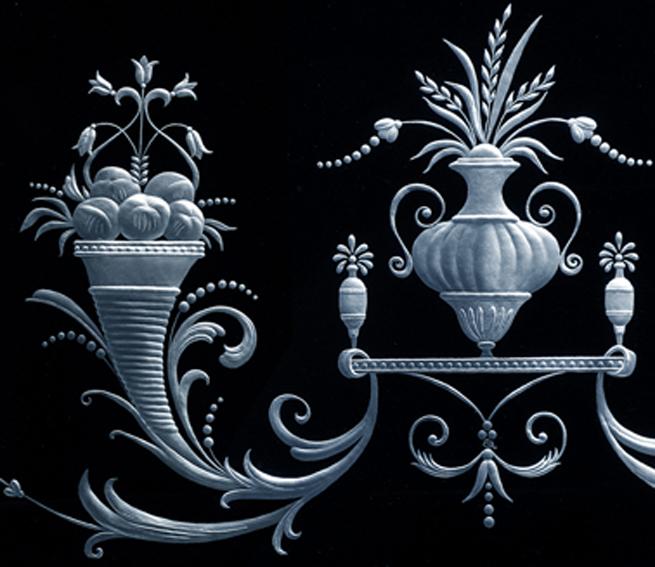 Гравированное стекло - фрагмент орнамента