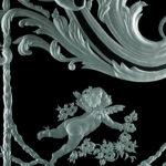 Гравированное стекло - фрагмент витража с ангелочком