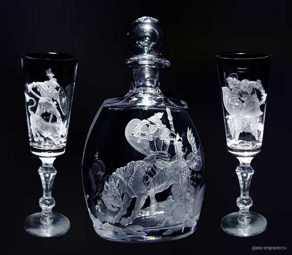 Гравировка по стеклу - бокалы и штоф