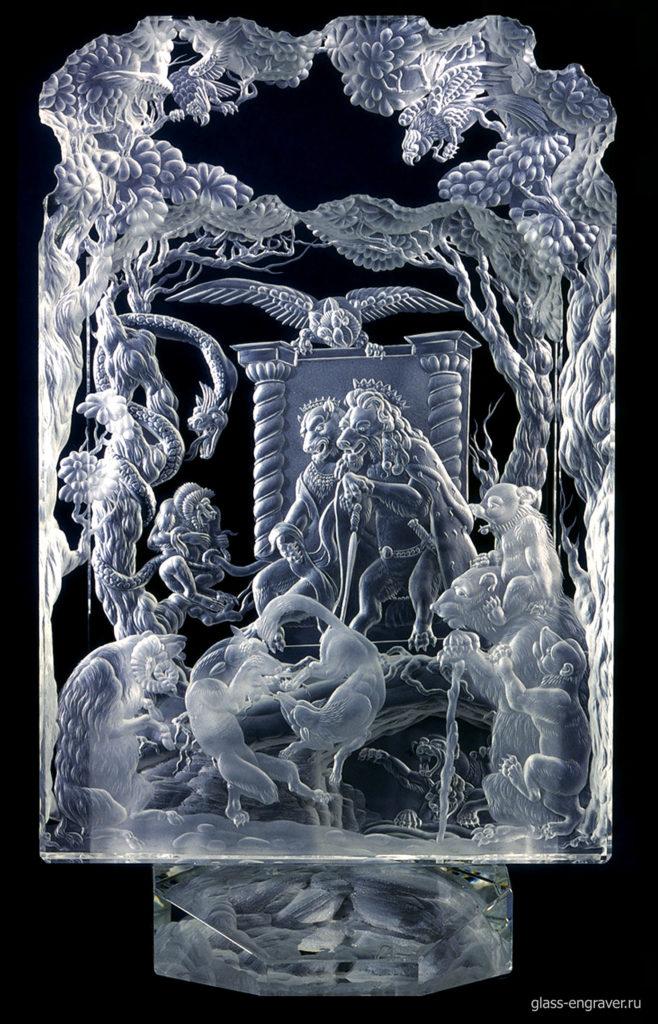 Рейнике Лис - гравировка по стеклу