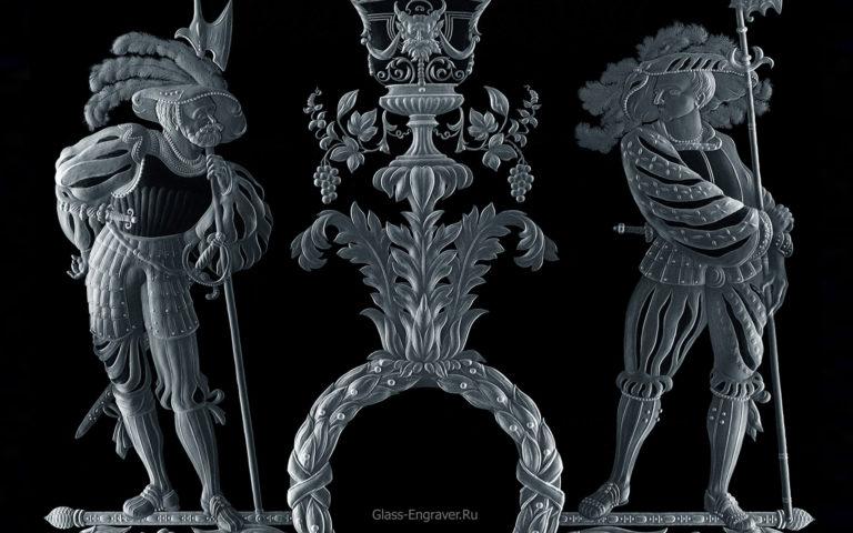 Гравированное стекло - фрагмент витража