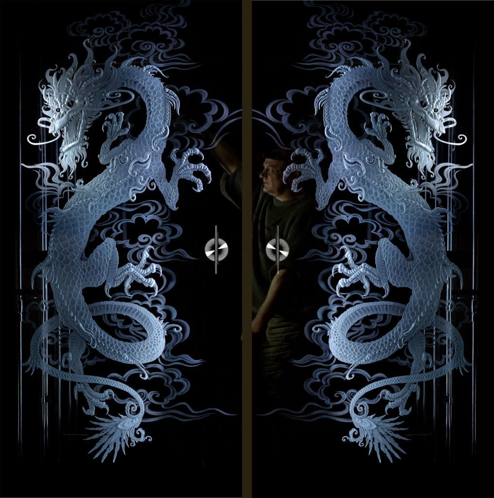 гравированное стекло - Драконы
