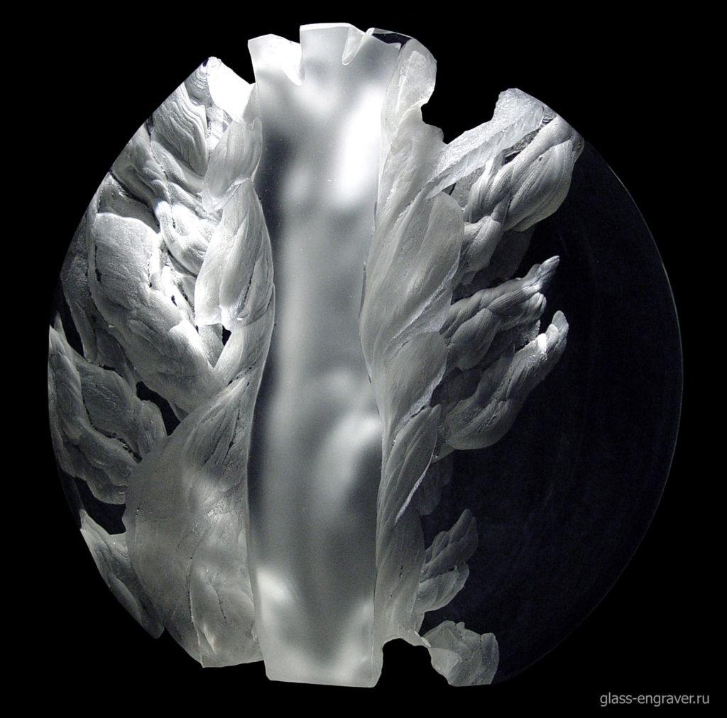 Дриада - гравированное стекло, арт-объект