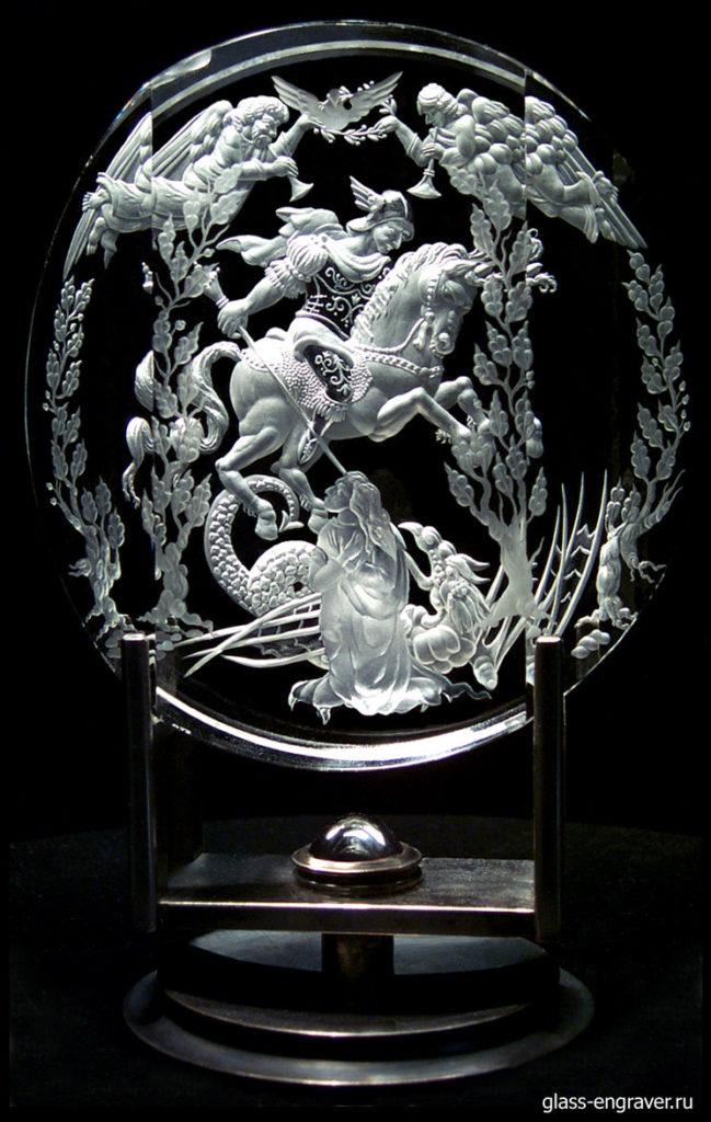 Гравированное стекло - Святой Георгий