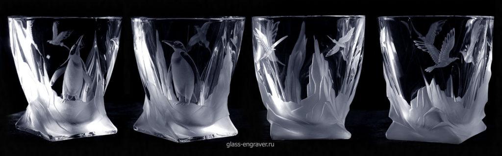 Гравированные хрустальные стаканы