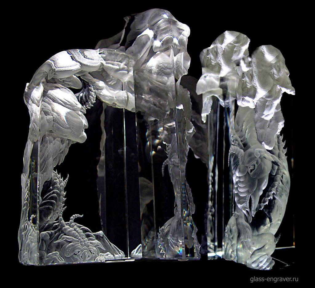 Дракон горы - гравированные стеклянные блоки